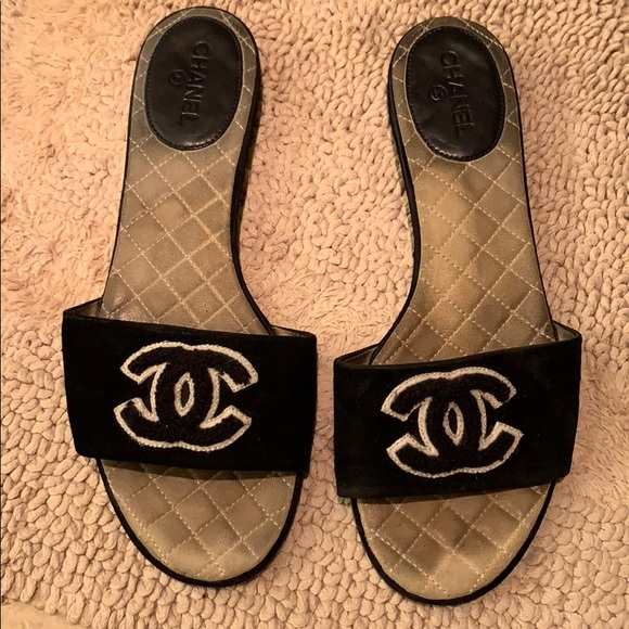 aaa94a6c6150 CHANEL Shoes | Sandal With Black White Logo | Poshmark